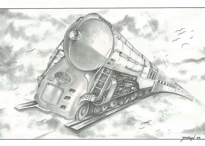 Clouds Greeting Card featuring the drawing Skyward Train by Julian B
