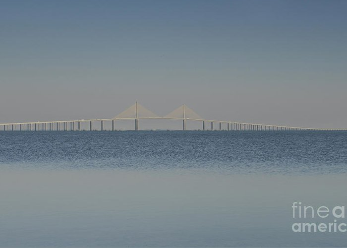 Blue Greeting Card featuring the photograph Skyway Bridge In Blue by David Lee Thompson