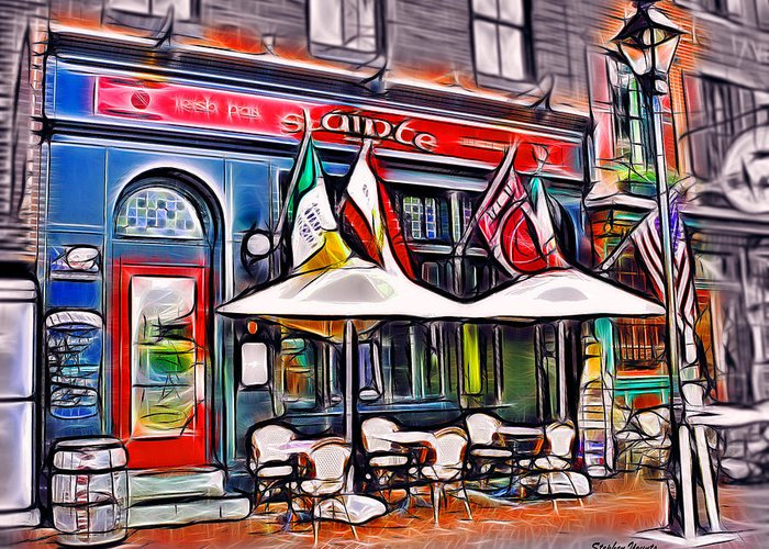 Slainte irish pub and restaurant greeting card for sale by stephen slainte greeting card featuring the mixed media slainte irish pub and restaurant by stephen younts m4hsunfo