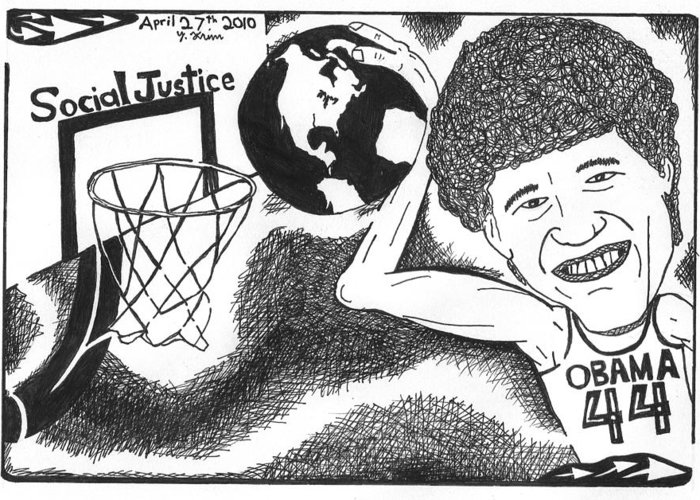 Obama Greeting Card featuring the drawing Slam Dunk Social Justice by Yonatan Frimer Maze Artist
