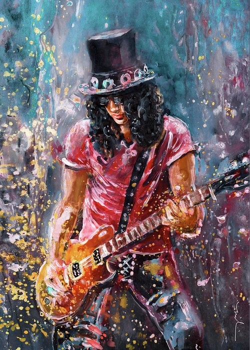Music Greeting Card featuring the painting Slash by Miki De Goodaboom