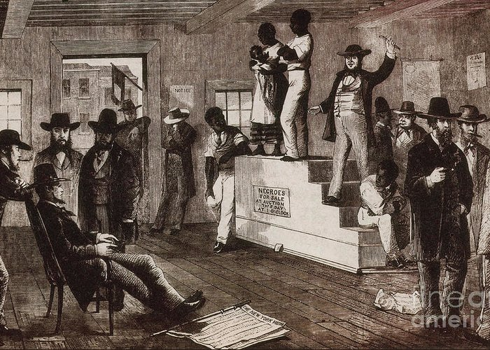 History Greeting Card featuring the photograph Slave Auction In Virginia by Photo Researchers
