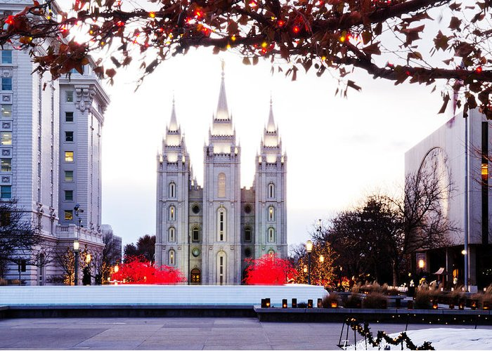 Temple Photographs Greeting Card featuring the photograph Slc Temple Red And White by La Rae Roberts