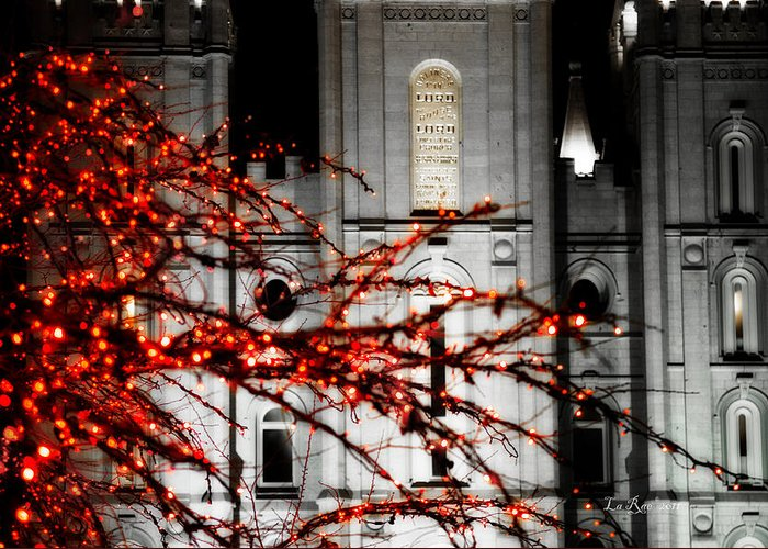 Salt Lake City Temple Photographs Greeting Card featuring the photograph Slc Temple Red White N Black by La Rae Roberts