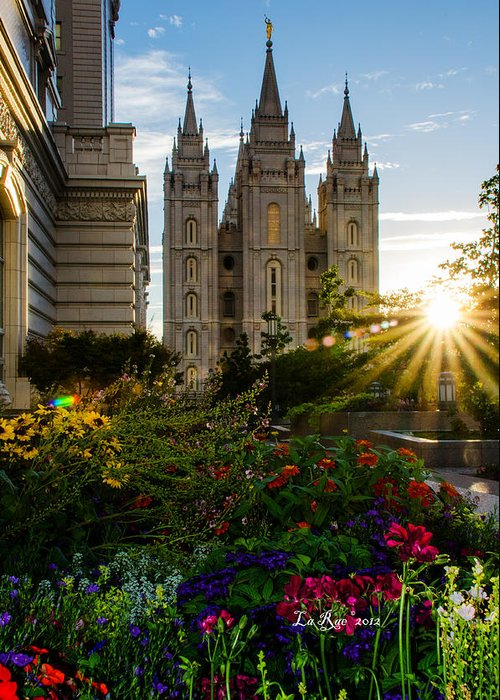 Mormon Temple Photography Greeting Card featuring the photograph Slc Temple Sunburst by La Rae Roberts