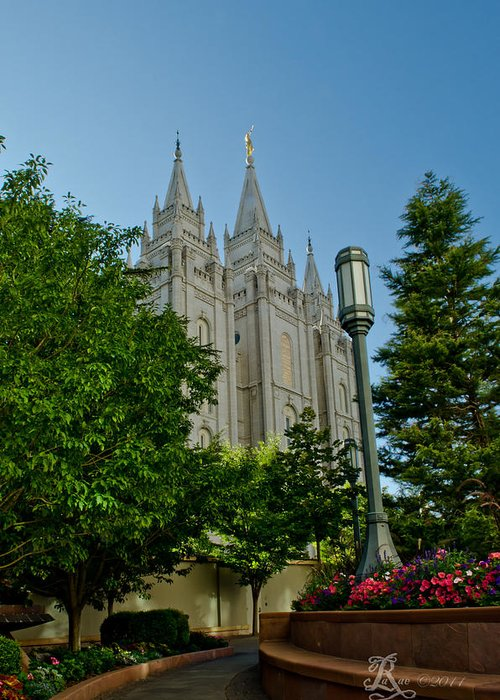 Temple Greeting Card featuring the photograph Slc Temple Walk by La Rae Roberts