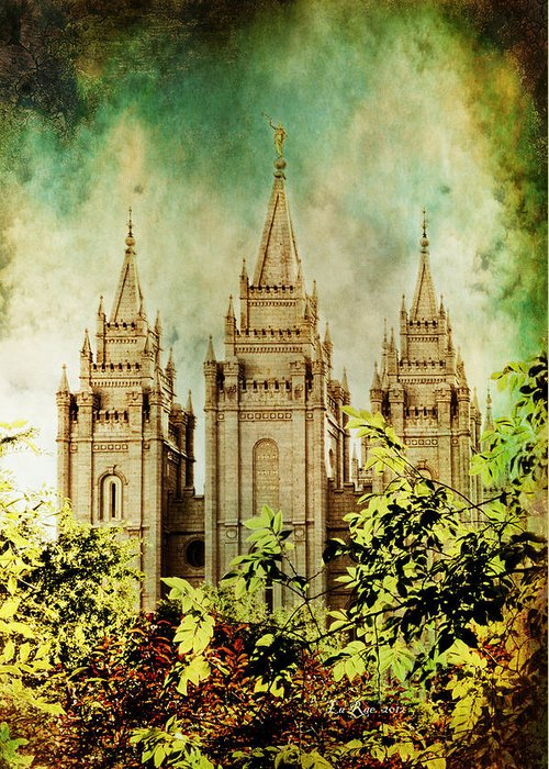 Salt Lake Temple Photography Greeting Card featuring the photograph Slc Vintage Green by La Rae Roberts
