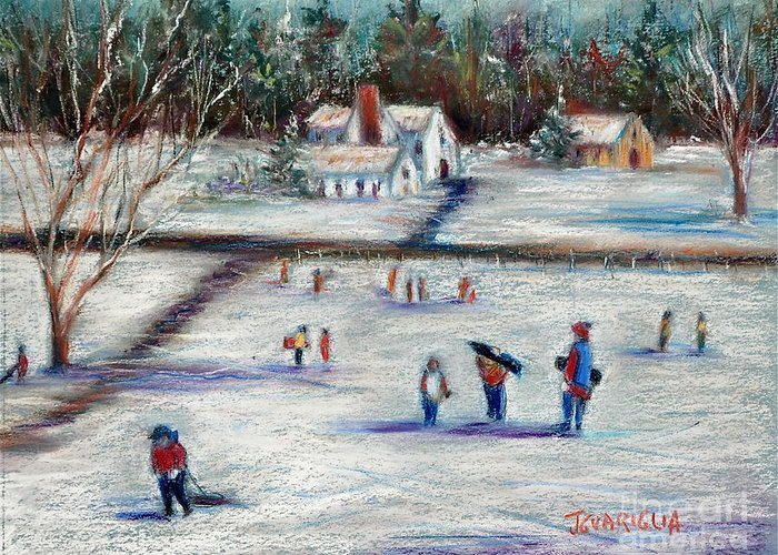 Snow Landscape Greeting Card featuring the pastel Sledding by Joyce A Guariglia