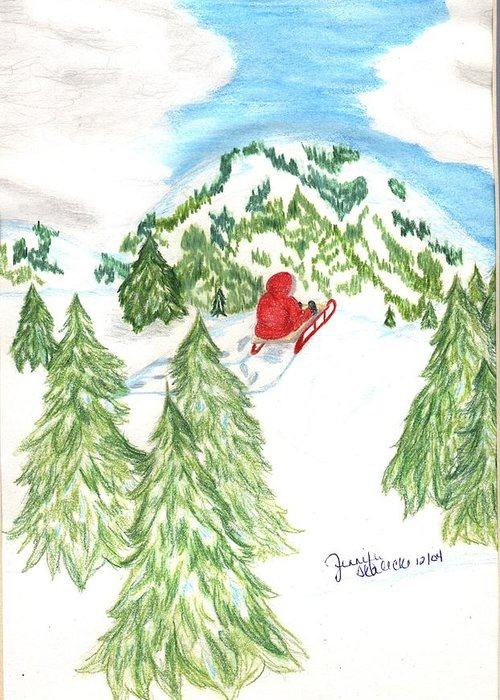 Sled Greeting Card featuring the drawing Sledding Wintertime - Www.jennifer-d-art.com by Jennifer Skalecke