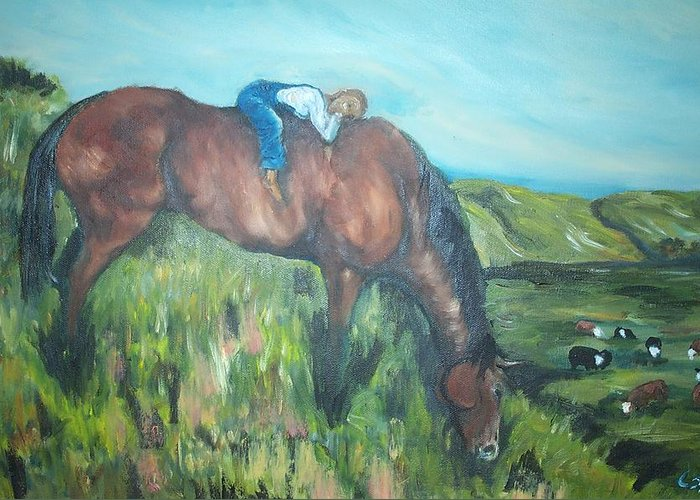 Horse Greeting Card featuring the painting Sleep On The Job by Leslie Spurlock