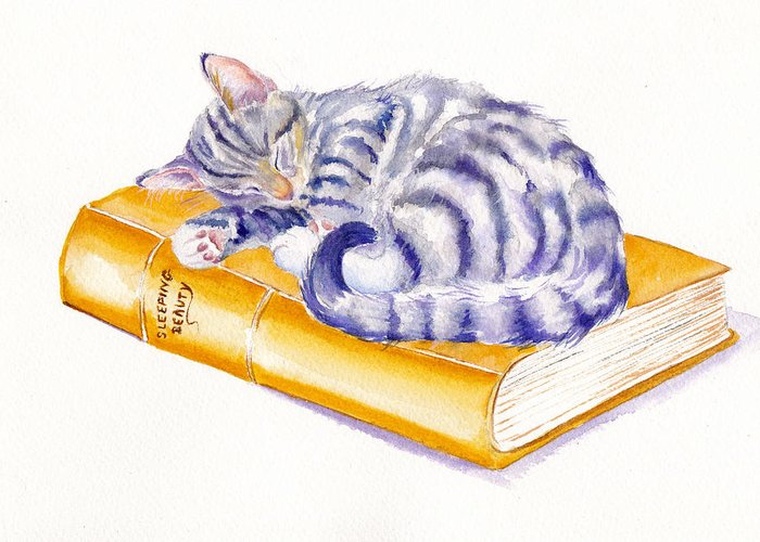 Cats Greeting Card featuring the painting Sleeping Beauty by Debra Hall