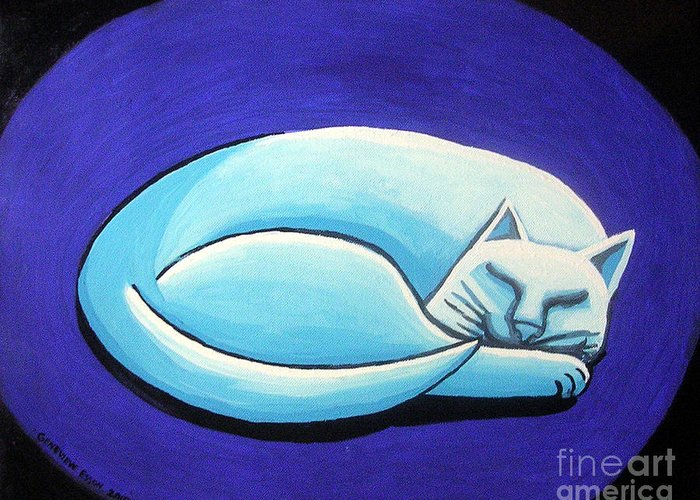 Sleeping Cat Greeting Card featuring the painting Sleeping Cat by Genevieve Esson