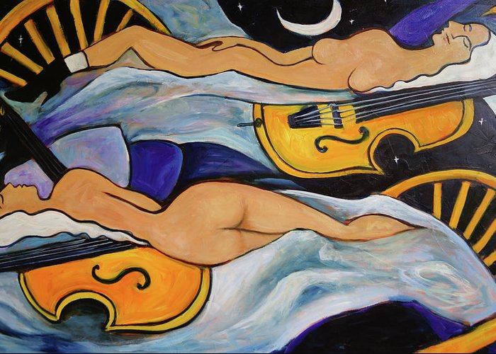 Musicians Greeting Card featuring the painting Sleeping Cellists by Valerie Vescovi
