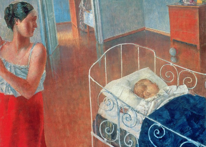 Sleeping Greeting Card featuring the painting Sleeping Child by Kuzma Sergeevich Petrov Vodkin
