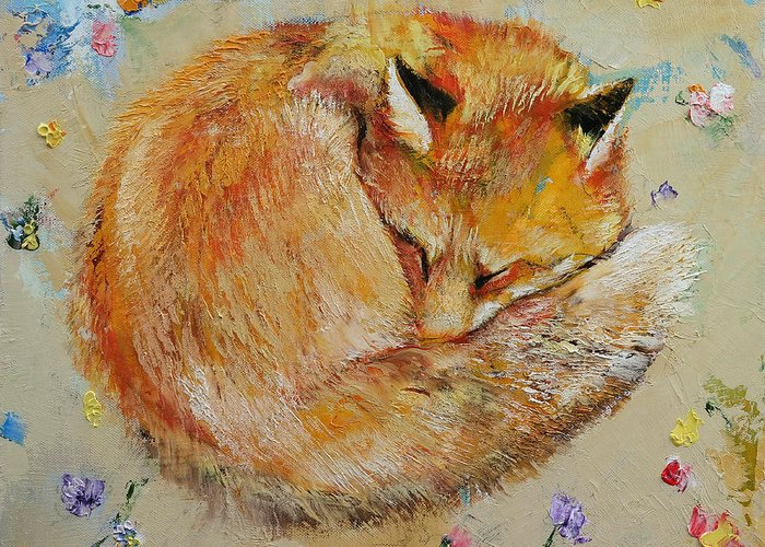Fox Greeting Card featuring the painting Sleeping Fox by Michael Creese