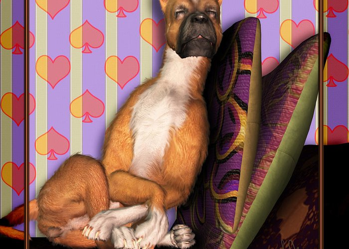 Dog Greeting Card featuring the digital art Sleeping II by Nik Helbig