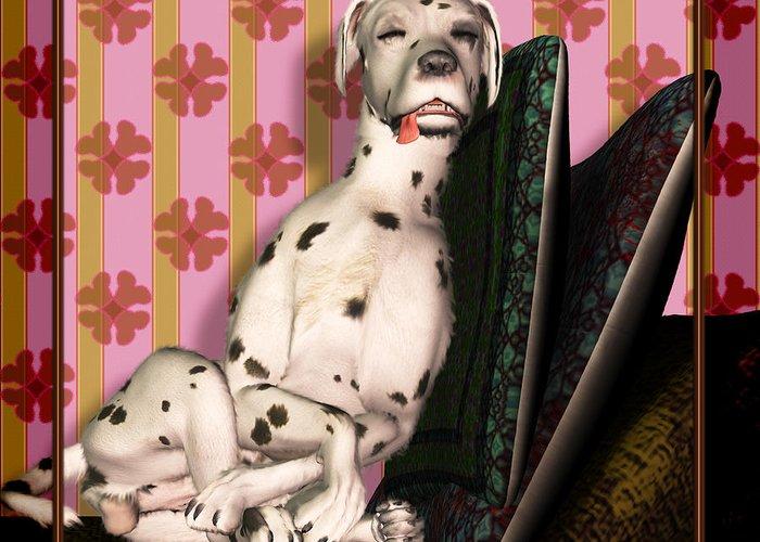 Dalmatian Greeting Card featuring the digital art Sleeping IIi by Nik Helbig