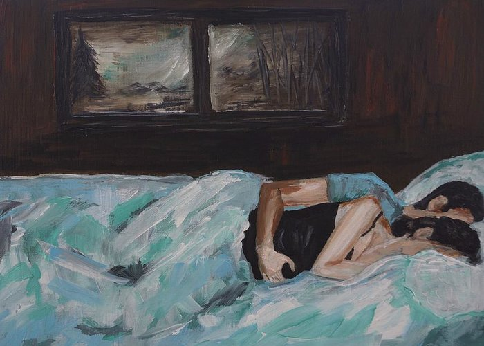 Couple Painting Greeting Card featuring the painting Sleeping In by Leslie Allen
