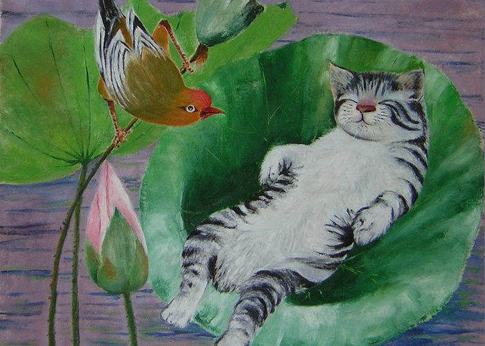 Fantasy Greeting Card featuring the painting Sleeping Kitten by Lian Zhen
