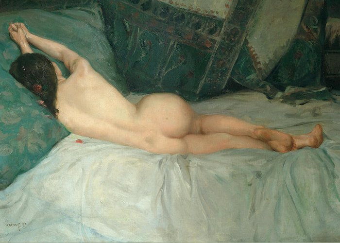 Antoine Raynolt Greeting Card featuring the painting Sleeping Naked Woman by Antoine Raynolt