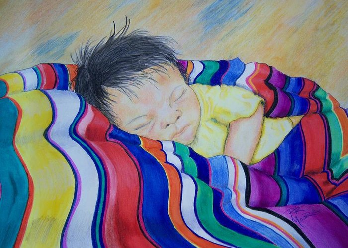 Indian Greeting Card featuring the painting Sleeping On A Rainbow by Patricia R Moore