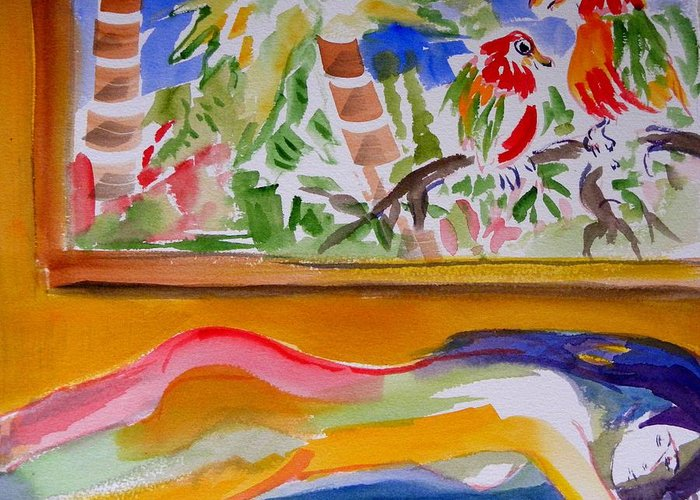 Watercolor On Paper Greeting Card featuring the painting Sleeping Under The Window by Patricia Bigelow