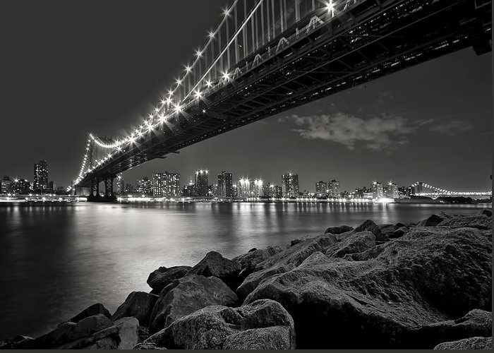 Bridge Greeting Card featuring the photograph Sleepless Nights And City Lights by Evelina Kremsdorf