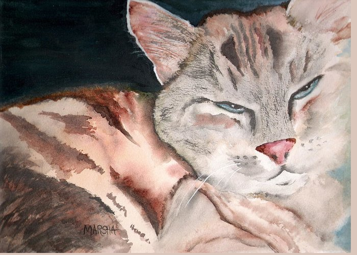 Animal Cat Painting Watercolor Greeting Card featuring the painting Sleepy Cat by Marsha Woods