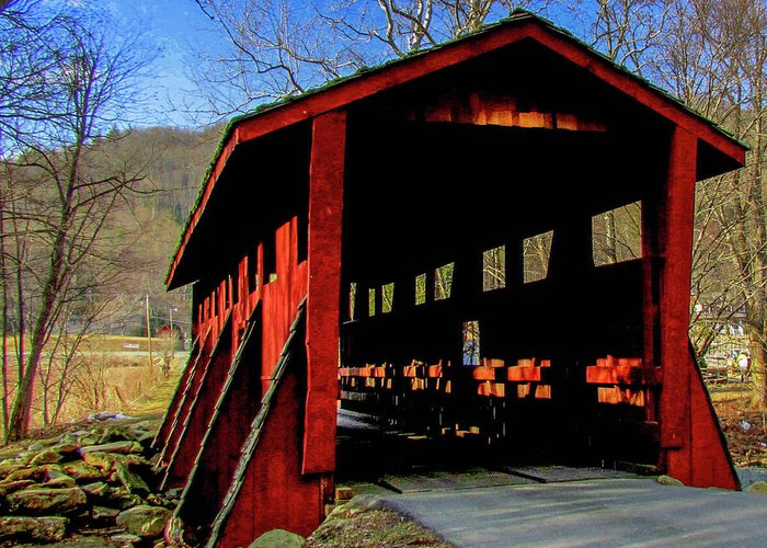 Covered Bridge North Carolina Sleepy Hollow Greeting Card featuring the photograph Sleepy Hollow Bridge by Judy Baird