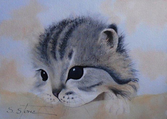 Animal Portrait Greeting Card featuring the painting Sleepy Kitten by Sandra Stone
