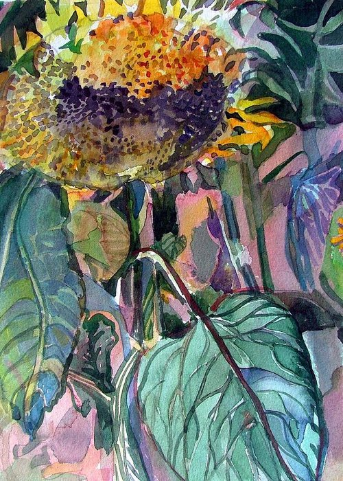 Sunflower Greeting Card featuring the painting Sleepy Sunflower by Mindy Newman