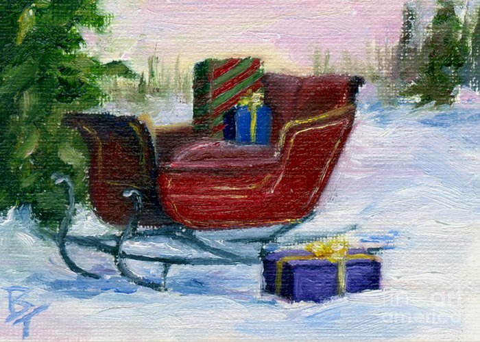 Sleigh Greeting Card featuring the painting Sleigh Aceo by Brenda Thour