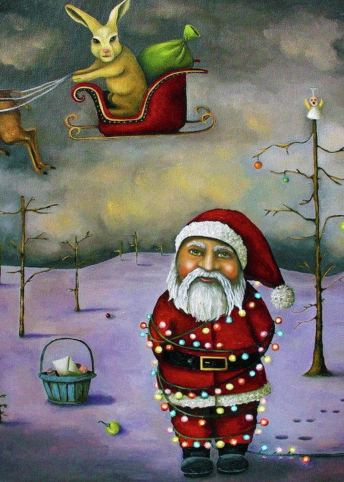 Santa Greeting Card featuring the painting Sleigh Jacker by Leah Saulnier The Painting Maniac