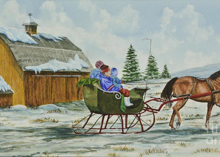 Country Kids Art Greeting Card featuring the painting Sleigh Ride by Charlotte Blanchard