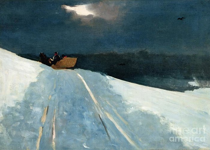 Winter Scene; Wintry; Snow; Snow-covered Landscape; Rural; Remote; Night; Darkness; Tracks; Path; Track; Moonlight; Sledge; Nocturne; Sleigh Ride Greeting Card featuring the painting Sleigh Ride by Winslow Homer