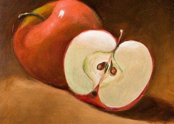 Apple Greeting Card featuring the painting Sliced Apple by Joni Dipirro