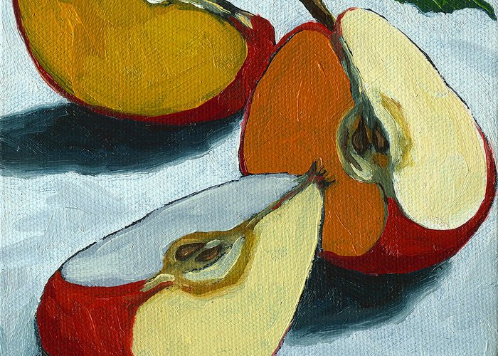 Apple Greeting Card featuring the painting Sliced Apple Still Life Oil Painting by Linda Apple