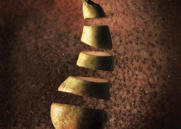 Abstract Greeting Card featuring the photograph Sliced Up Pear by Dirk Ercken