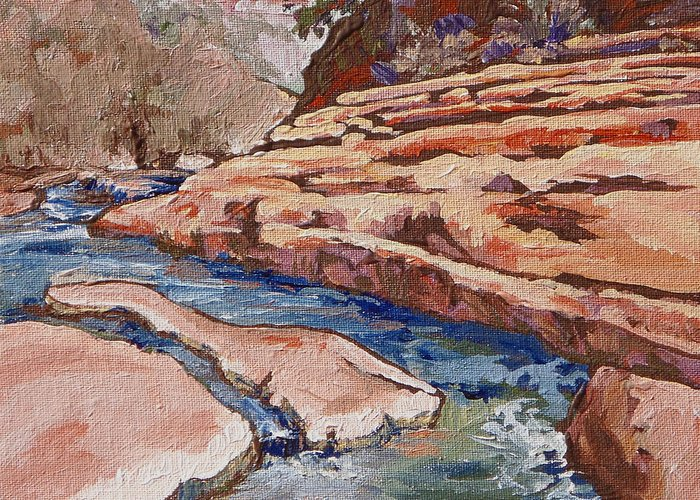 Slide Rock Greeting Card featuring the painting Slide Rock by Sandy Tracey