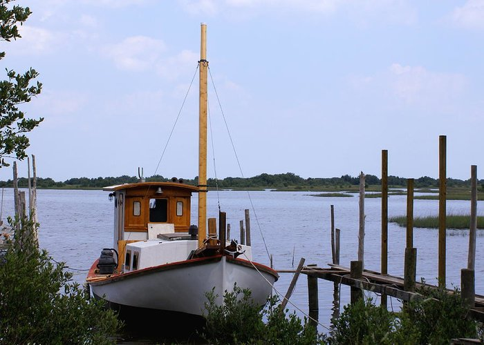 Cedar Key Greeting Card featuring the photograph Sloop In Paradise - Debbie May - Photosbydm by Debbie May