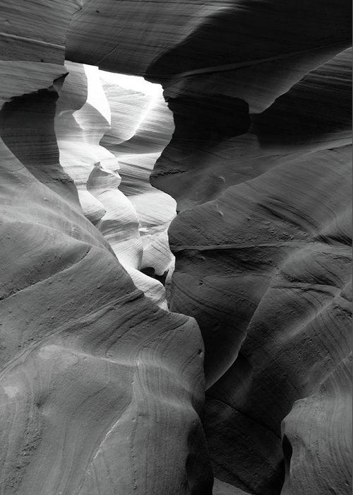Slot Canyon Greeting Card featuring the photograph Slot Canyon Black And White by Scott Sawyer