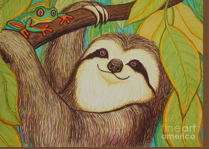 Sloth Greeting Card featuring the drawing Sloth And Frog by Nick Gustafson