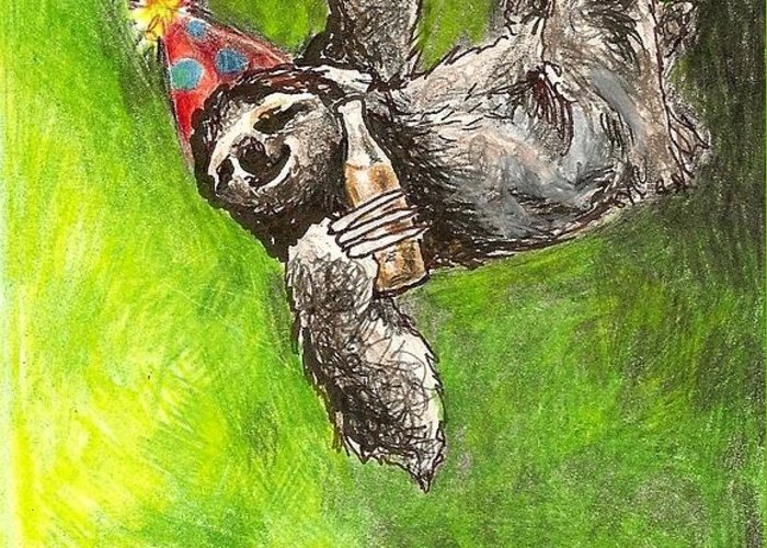 Kristen Bell Greeting Card featuring the drawing Sloth Birthday Party by Steve Asbell