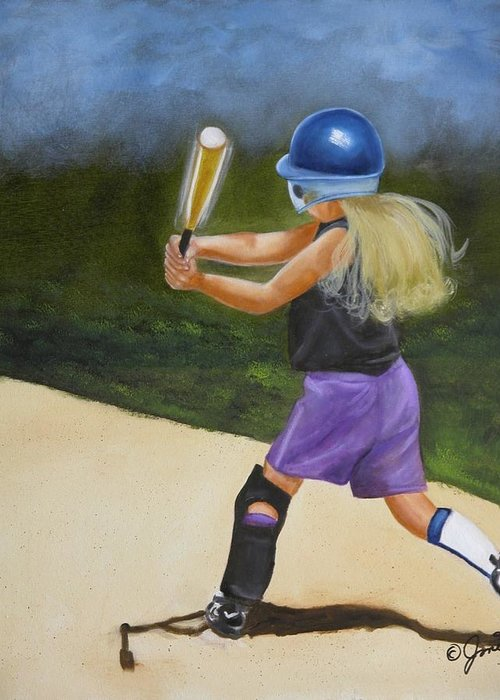 Child Greeting Card featuring the painting Slugger by Joni McPherson