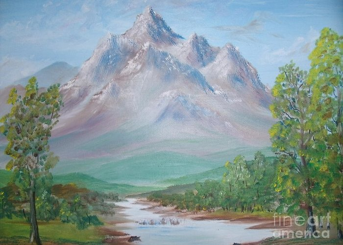 Mountain Greeting Card featuring the painting Slumber Mountain by The Stone Age