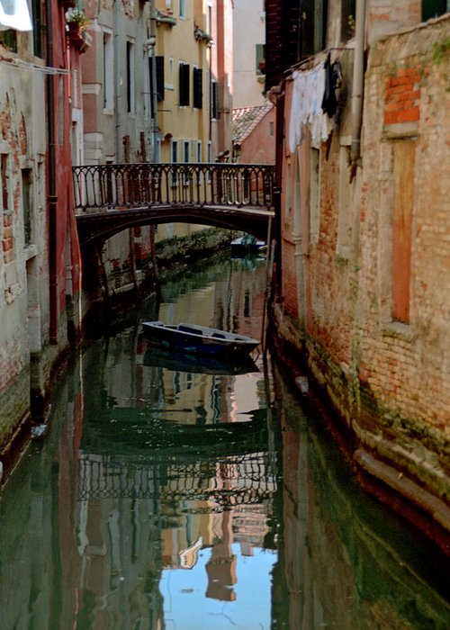 Greeting Card featuring the photograph Small Boat on Canal in Venice for Vrooman by Michael Henderson