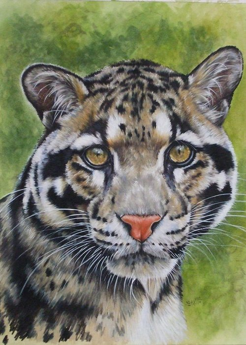 Clouded Leopard Greeting Card featuring the mixed media Small But Powerful by Barbara Keith