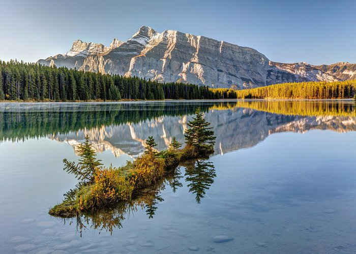 Adventure Greeting Card featuring the photograph Small Island At Two Jack Lake by Pierre Leclerc Photography