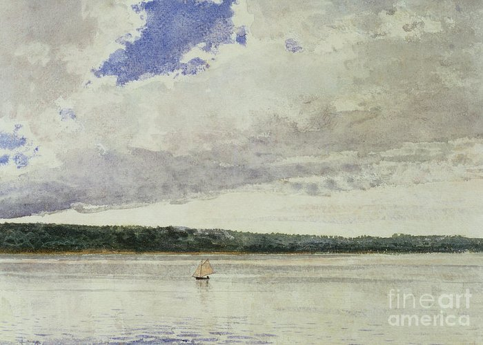 Small Sloop On Saco Bay (w/c On Paper)seascape; Vessel; Boat; Sea; Maine; New England Region; Solitary; Boat Greeting Card featuring the painting Small Sloop On Saco Bay by Winslow Homer