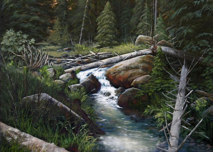 Landscape Greeting Card featuring the painting Small Stream In The Lost Wilderness 070810-1612 by Kenneth Shanika